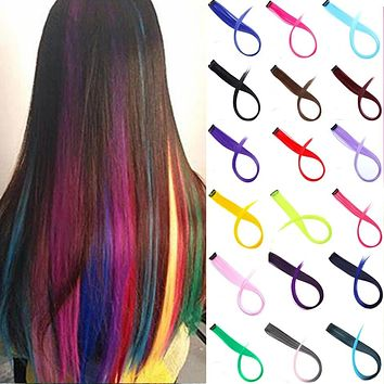 Hair Girl One Chip In Hair Extension Rainbow Color