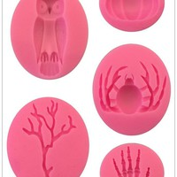 Halloween Molds Fondant Cream Chocolate Silicone Molds Hand Skeleton Spider Bats Pumpkin Owls Clay for Kitchen Baking 1684