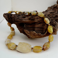 Chunky yellow Persian agate necklace Statement jewelry Large semiprecious stone nuggets Short natural necklace OOAK unique gift ALFAdesigns