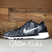 Nike Free Run TR Fit 5 PRT By Glitter Kicks - Customized With Swarovski Crystal Rhinestones - White/Black Leopard Print