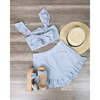 Around the World - Ruffled Two Piece Set - More Colors