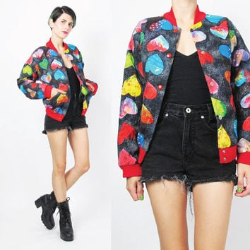 90s Quilted Bomber Jacket Vintage Heart Print Jacket Abstract Petites Jacket Kids Hipster Kawaii Cotton Snaps Colorful Jacket (XS/S)