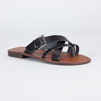 Bamboo Cable Womens Sandals Black  In Sizes