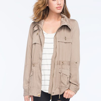 Ashley Flap Front Womens Anorak Jacket Khaki  In Sizes