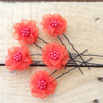 Red Flower Wedding Hair Pins, Ivory Bridal Hair Pins, Hair Accessories, Organza Hair Pins, Bridesmaid Hair, Woodland - Set of 5