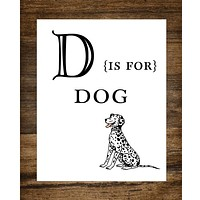 "D is for Dog Kids Playroom 8"" x 10"" Wall Print"