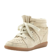 Isabel Marant Bobby Low-Rise Perforated Wedge Sneaker, Ivory