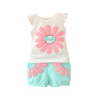 Fashion Toddler Baby Girls Clothing Set Sunflower Girls Clothes Sets Kids Casual Sport Suit Set