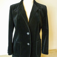 Black Velour Blazer Jacket for Women, Made in Belgium, Size Small