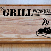 Engraved Cutting Board The Grillfather, Fathers Day Gifts. Wooden, Engraved, Birthday Gift, Gift for Dad, Gift for Him, Gift for Husband