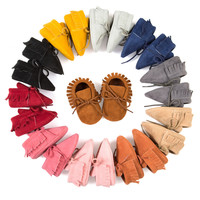Baby Moccasin  Baby First Walkers Soft Bottom Non-slip Fashion Tassels Newborn Babies Shoes 14-colors PU Leather Prewalkers Boot