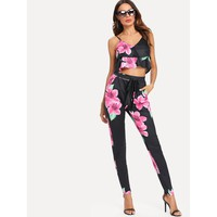 Floral Print Crop Cami Top With Pants