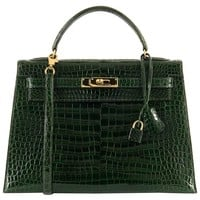 Very Rare Pristine Hermes 32cm 'Vert Emeraude' Shiny Crocodile Kelly Bag
