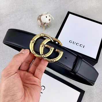 GUCCI New fashion letter buckle couple belt Black With Box
