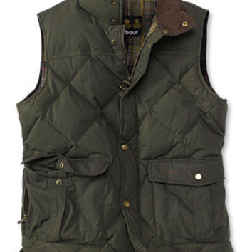 Men's Down Insulated Vest / Barbour Down-Filled Waxed Gilet -- Orvis