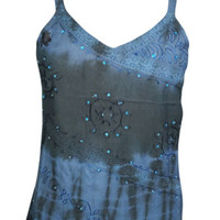 Always the Fun One Top Sequin Embroidered Blue Boho Hippy Cami Strappy Tank Tops