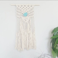 Macrame Curtain- Wall Accent- Bohemian Decor- Modern Macrame- Wall Accent- Boho Home Decor- Feathers- Turquoise- BohoChic- Gypsy Mermaid
