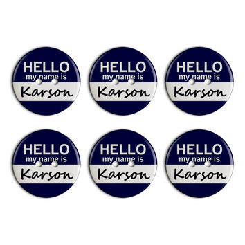 Karson Hello My Name Is Plastic Resin Button Set of 6