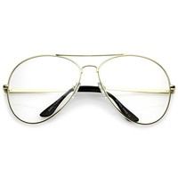 Classic Oversize Aviator Glasses With Metal Double Crossbar Teardrop Clear Lens 63mm