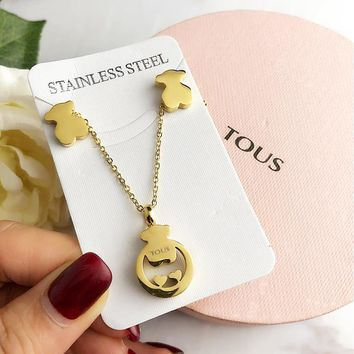 TOUS Stylish Women Simple Golden Stainless Steel Necklace Earrings Set Accessories Jewelry