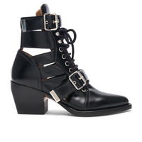 Chloe Rylee Leather Lace Up Buckle Boots in Black | FWRD