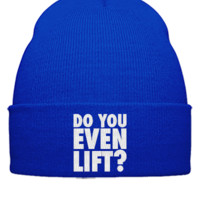 DO YOU EVEN LIFT BLUE embroidery hat - Beanie Cuffed Knit Cap