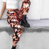 Women's Trending Camouflage Print Training Denim Casual Pants Trouser Brown
