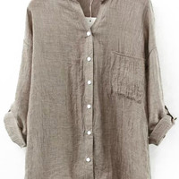 V-Neckline With Pocket Coffee Colored Blouse