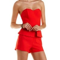 Red Strapless Peplum Romper by Charlotte Russe