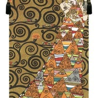 LAttente Klimt a Droite Or European Tapestry Wall Hanging