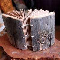 Coptic stich rustic wood journal 5 1/2 x 4 by crearting on Etsy