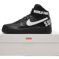 Nike Air Force 1 647902-601 Black For Women Men Running Sport Casual Shoes Sneakers