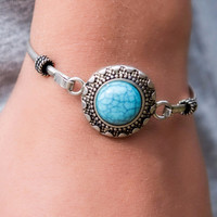 Oh The Places You'll Go Silver And Turquoise Stone Bracelet