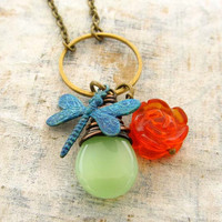 long Dragonfly necklace Summer jewelry