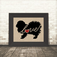 Pekingese (Lion Dog) Love - Burlap or Canvas / Wall Art Print for Dog Lovers: Great Gift / Personalized (Free Shipping)
