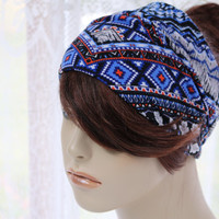 Blue Southwestern Turban Head Wrap, Wide Hair Band, Women's Yoga Wrap, Turband,  Hair Accessories, Gift Ideas Womens Gifts for Her