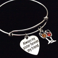 Cheers Always my Sister Forever My Friend Adjustable Expandable Silver Plated Bangle Charm Bracelet