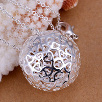 silver plated necklaces & pendants Three-dimensional ball vintage necklace charm