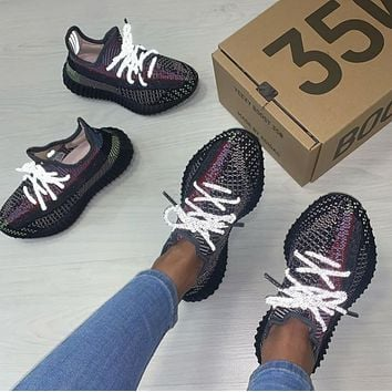 Adidas Yeezy Boost 350 V2 Black grey coconut lovers Black Angel Sports shoes