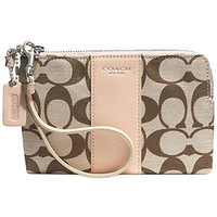 COACH LEGACY L-ZIP SMALL WRISTLET IN PRINTED SIGNATURE FABRIC