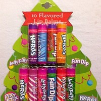 10 Pack Holiday Packaging Flavored Lip Balm Set - Nerds, Fun Dip, Laffy Taffy, Pixy Stix