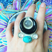 Sterling Silver Crescent Moon Statment Ring Size 7