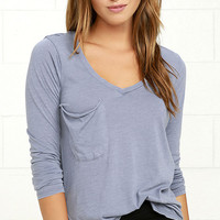 Secret Layer Periwinkle Blue Long Sleeve Top