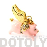 Flying Pig Animal Pendant Necklace   Limited Edition Animal Jewelry