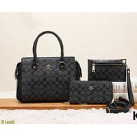 COACH Women Shopping Leather Tote Crossbody Satchel Shoulder Bag Set Three Piece Black