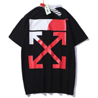 Off White Summer New Fashion Bust Letter And Back Cross Arrow Print Women Men Top T-Shirt Black