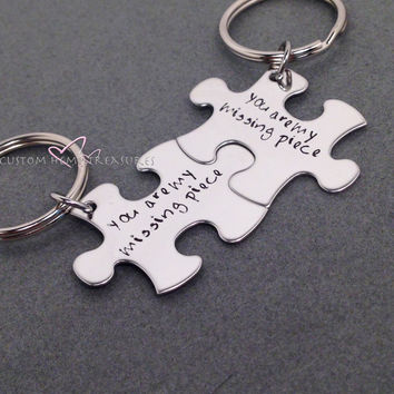 Couples Key Chains, You are my missing piece, Long Distance Relationship