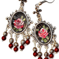 Painted Rose Victorian Earrings Vintage Style Boho Chic Jewelry FREE SHIPPING