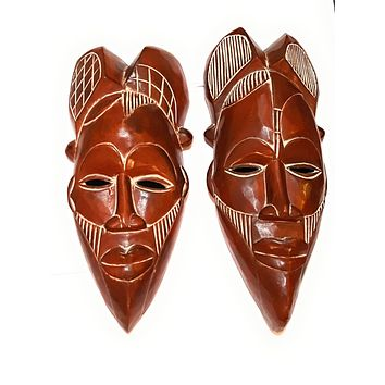 """🎁 ONE DAY SALE 12""""-14"""" African Wood Mask in Brown"""