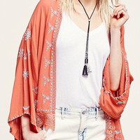 Orange Embroidery Panel Lace Hem Bat Sleeve Kimono